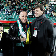 Bursaspor's coach Ertugrul SAGLAM (R) and Ankaragucu's coach Mesut BAKKAL (L) during their Turkish soccer super league match Bursaspor between Ankaragucu at Ataturk Stadium in Bursa Turkey on Monday, 21 March 2011. Photo by TURKPIX