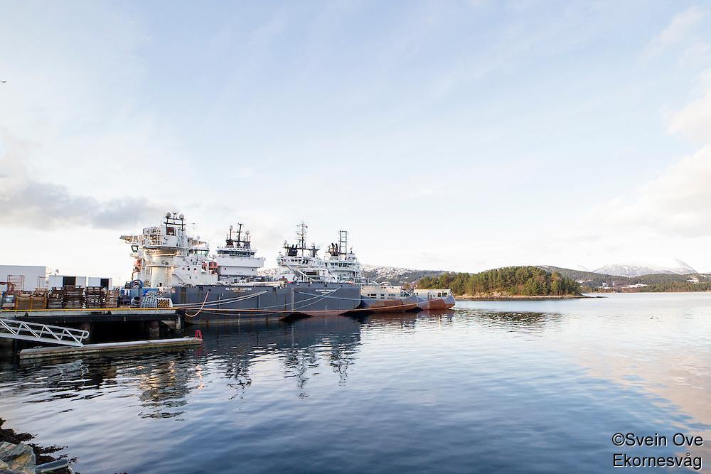 Olympic Canyon, Olympic Princess, Olympic Poseidon og Olympic Octopus fra Olympic Shipping ligger i opplag i Ålesund under oljekrisen 2016.<br /> Foto: Svein Ove Ekornesvåg