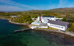Aerial view from drone of Lagavulin scotch whisky distillery at Kildalton on Islay , Inner Hebrides , Scotland, UK