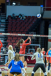BLOOMINGTON, IL - October 23: Nora Janka sets the ball during a college Women's volleyball match between the ISU Redbirds and the Drake Buldogs on October 23 2021 at Illinois State University in Normal, IL. (Photo by Alan Look)