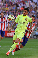 Atletico de Madrid´s Antoine Griezmann and FC Barcelona´s Daniel Alves during 2014-15 La Liga match between Atletico de Madrid and FC Barcelona at Vicente Calderon stadium in Madrid, Spain. May 17, 2015. (ALTERPHOTOS/Luis Fernandez)