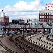 Railways and Pedestrian Bridge behind Kansas City Missouri's Union Station.