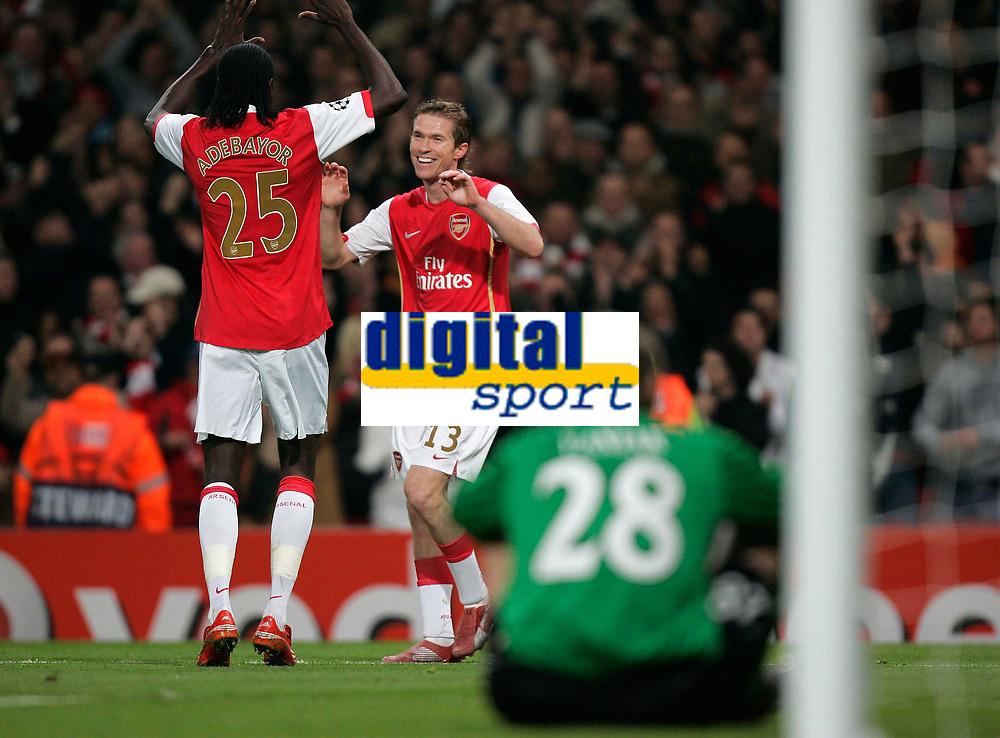 Photo: Tom Dulat.<br /> Arsenal v Slavia Prague. Group H, UEFA Champions League. 23/10/2007.<br /> Aleksander Hleb(R) celebrates his goal for Arsenal together with Emmanuel Adebayor(L), Arsenal leads 2-0