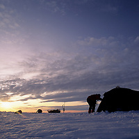 INTL.ARCTIC PROJECT, Tent on frozen Great Slave Lake, N.W.T., Canada (MR)