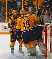 NASHVILLE, TN - MAY 07:  Ryan Ellis #4 and Calle Jarnkrok #19 congratulate goalie Pekka Rinne #35 after a 3-1 Predator victory over the St. Louis Blues in Game Six of the Western Conference Second Round during the 2017 NHL Stanley Cup Playoffs  at Bridgestone Arena on May 7, 2017 in Nashville, Tennessee.  (Photo by Frederick Breedon/Getty Images)