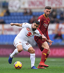ROME, Jan. 20, 2019  AS Roma's Bryan Cristante (R) vies with Torino's Tomas Rincon (L) during the Serie A soccer match between AS Roma and Torino in Rome , Italy, Jan.19, 2019. AS Roma won 3-2. (Credit Image: © Alberto Lingria/Xinhua via ZUMA Wire)