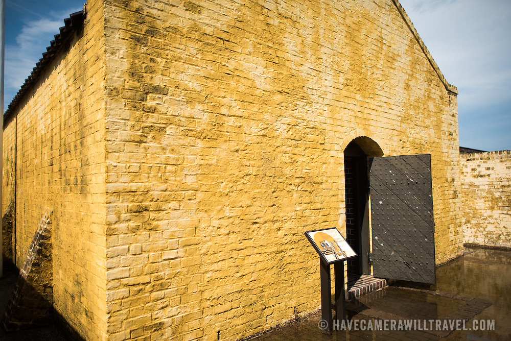 SULLIVAN'S ISLAND, South Carolina - Exterior of a powder magazine, a bunkered, dry space for storing the gunpowder for the fort's cannons. Fort Moultrie is part of the Fort Sumter National Monument at the entrance to Charleston Harbor in South Carolina. The fort has played a crucial role in defending the harbor from the time of the Revolutionary War through World War II. During that time it has undergone multiple upgrades, from the original palmetto log walls to the newer heavily fortified earthen bunkers.