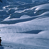 Ski mountaineer Jay Jensen descends the Vallee Blanche Glacier in the French Alps above Chamonix.