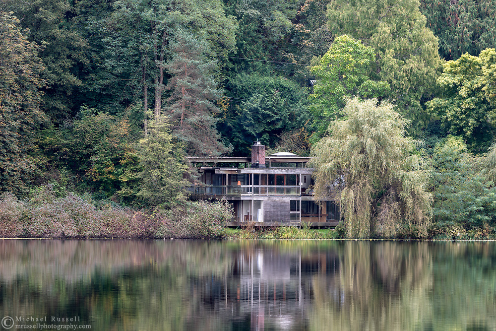 """The """"Baldwin House"""" on the shore of Deer Lake in Burnaby, British Columbia, Canada.  The Baldwin House was built in 1965 and designed by architect Arthur Erickson. The house is valued as an example of Burnaby's post WWII modern heritage, progressive architectural style, and was added to the Canadian Register of Historic Places in 2005."""