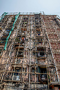 Indian construction technique with bamboo scaffolding. Photographed in Mumbai, India