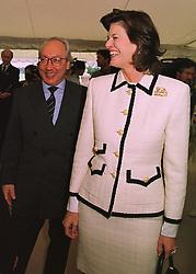 MR & MRS URS SCHWARZENBACH the Swiss multi-millionare, at a polo match in Berkshire on 14th June 1998.MII 56