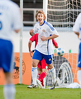 Fotball<br /> Finland v Wales<br /> Foto: Propaganda/Digitalsport<br /> NORWAY ONLY<br /> <br /> HELSINKI, FINLAND - Saturday, October 10, 2009: Finland's Roni Porokara celebrates scoring the opening goal against Wales during the 2010 FIFA World Cup Qualifying Group 4 match at the Olympic Stadium.