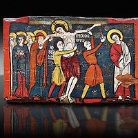 Romanesque painted Beam depicting The Passion and the Stations of the Cross<br /> <br /> Around 1192-1220, Tempera on wood from Catalonia, Spain.<br /> <br /> Acquisition of Museums Board's campaign in 1907. MNAC 15833.<br /> <br /> It is not known what was the original location of the beam, but it might have been part of the structure of a canopy. In any case, it was reused in a ceiling, as evidenced by the cuts that are at the top. It is decorated with seven scenes from the Passion and Resurrection of Christ, this scene shows Christ being removed from the Cross. The narrative character in the images and the predominance of yellow is typical of Catalan painting of the 1200's,  specifically with illustrations of Liber Feudorum Maior, a late twelfth-century illuminated cartulary book style of the Crown of Aragon
