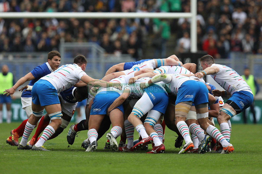 March 16, 2019 - Rome, RM, Italy - France and Italy players in a scrum during the Six Nations International Rugby Union match between Italy and France at Stadio Olimpico on March 16, 2019 in Rome, Italy. (Credit Image: © Danilo Di Giovanni/NurPhoto via ZUMA Press)