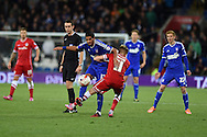 Kevin Bru of Ipswich Town © is stopped by Cardiff's Craig Noone.  . Skybet football league championship match, Cardiff city v Ipswich Town at the Cardiff city stadium in Cardiff, South Wales on Tuesday 21st October 2014<br /> pic by Andrew Orchard, Andrew Orchard sports photography.
