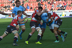 14-07-18 Johannesburg. Emirates Airlines Park. Emirates Lions vs Vodacom Blue Bulls.<br /> 1st half. Blue Bulls Jamba Ulengo is tackled by two Lions players.<br /> Picture: Karen Sandison/African News Agency (ANA)