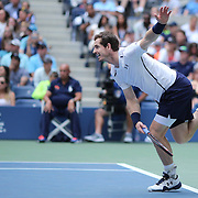 2016 U.S. Open - Day 6   Andy Murray of Great Britain in action against Paolo Lorenzi of Italy in the Men's Singles round three match on Arthur Ashe Stadium on day six of the 2016 US Open Tennis Tournament at the USTA Billie Jean King National Tennis Center on September 3, 2016 in Flushing, Queens, New York City.  (Photo by Tim Clayton/Corbis via Getty Images)