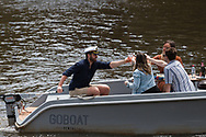 Friends are seen clinking beers on a boat on The Yarra during the COVID-19 in Melbourne. With over a week of zero cases in Victoria, Premier Daniel Andrews is expected to make major announcements on Sunday about further easing of restrictions. (Photo by Dave Hewison/Speed Media)
