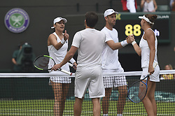 LONDON, July 14, 2018  Alexander Peya (2nd L) of Austria and Nicole Melichar (1st R) of the United States greet with Michael Venus (2nd R) of New Zealand and Katarina Srebotnik of Slovenia after the mixed doubles semifinal match at the Wimbledon Championships 2018 in London, Britain, July 13, 2018. Alexander Peya and Nicole Melichar won 2-0. (Credit Image: © Stephen Chung/Xinhua via ZUMA Wire)
