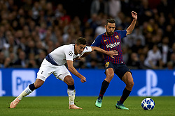 October 3, 2018 - London, England, United Kingdom - Lucas of Tottenham and Jordi Alba of Barcelona battle for the ball during the Group B match of the UEFA Champions League between Tottenham Hotspurs and FC Barcelona at Wembley Stadium on October 03, 2018 in London, England. (Credit Image: © Jose Breton/NurPhoto/ZUMA Press)