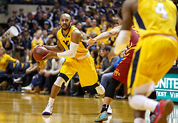 Feb 24, 2018; Morgantown, WV, USA; West Virginia Mountaineers guard Jevon Carter (2) passes the ball during the second half against the Iowa State Cyclones at WVU Coliseum. Mandatory Credit: Ben Queen-USA TODAY Sports