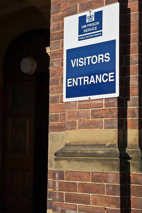 A sign for prison visitors entrance. HMP/YOI Askham Grange is a women's open prison serving the Yorkshire area with a capacity of 128 women. It has extensive education, training and mother and Baby facilities.