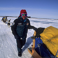 1993 Training Expedition, Will Steger mushes across Great Slave Lake, NWT, Canada.