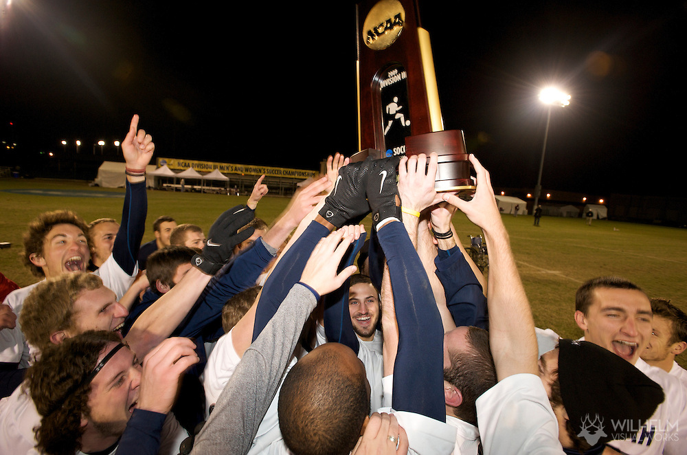 05 DEC 2009:  Messiah College celebrates their victory over Calvin College during the Division III Men's Soccer Championship held at Blossom Soccer Stadium hosted by Trinity University in San Antonio, TX. Messiah defeated Calvin 2-0 for the national title.  © Brett Wilhelm