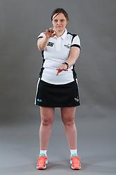 Umpire Rachael Radford signalling footwork