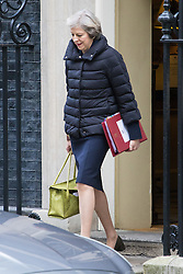 Downing Street, London, January 11th 2017. British Prime Minister Theresa May leaves 10 Downing Street for Prime Minister's Question Time in the House of Commons.