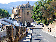 Iglesia del Espiritu sancto viewed down Cuesta las Imagenes street, Ronda, Spain