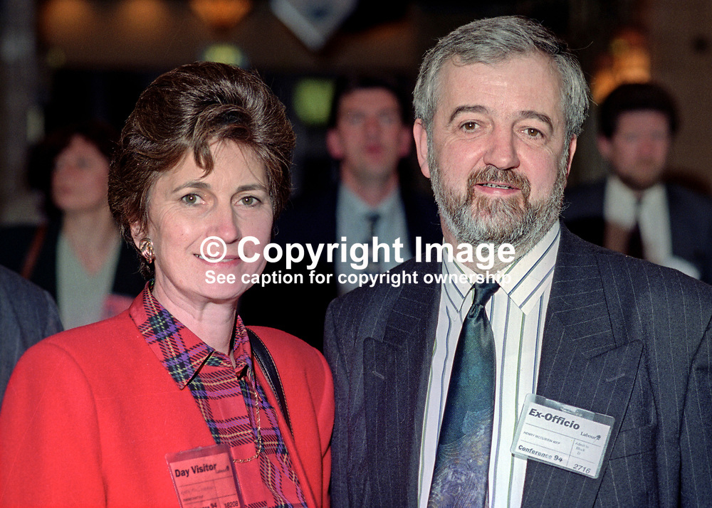 Henry McCubbin, MEP, Labour Party, UK, taken annual conference, September 1994, with his wife. 199409002<br /> <br /> Copyright Image from Victor Patterson, 54 Dorchester Park, <br /> Belfast, UK, BT9 6RJ<br /> <br /> t1: +44 28 9066 1296 (from Rep of Ireland 048 9066 1296)<br /> t2: +44 28 9002 2446 (from Rep of Ireland 048 9002 2446)<br /> m: +44 7802 353836<br /> <br /> e: victorpatterson@me.com<br /> www.victorpatterson.com<br /> <br /> Please see my Terms and Conditions of Use at www.victorpatterson.com. It is IMPORTANT that you familiarise yourself with them.<br /> <br /> Images used on the Internet must be visibly watermarked i.e. © Victor Patterson<br /> within the body of the image and copyright metadata must not be deleted. Images <br /> used on the Internet have a size restriction of 4kbs and will be chargeable at current<br />  NUJ rates unless agreed otherwise.<br /> <br /> This image is only available for the use of the download recipient i.e. television station, newspaper, magazine, book publisher, etc, and must not be passed on to any third <br /> party. It is also downloaded on condition that each and every usage is notified within 7 days to victorpatterson@me.com<br /> <br /> The right of Victor Patterson to be identified as the author is asserted in accordance with The Copyright Designs And Patents Act (1988). All moral rights are asserted