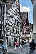 Stein am Rhein has a well-preserved medieval center with half-timbered framing in Schaffhausen Canton, Switzerland, Europe.