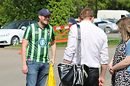 AFC Wimbledon manager Neal Ardley talking to author Jogn Green during the EFL Sky Bet League 1 match between AFC Wimbledon and Oldham Athletic at the Cherry Red Records Stadium, Kingston, England on 21 April 2018. Picture by Matthew Redman.