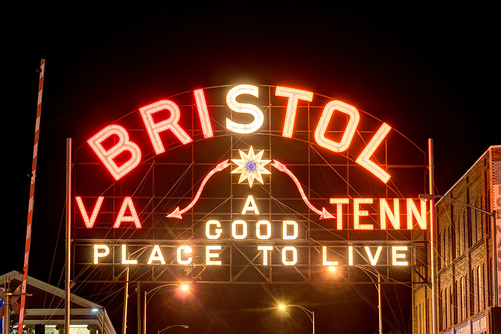 The infamous State Street Sign lights up Hokie Maroon and Tennessee Orange for the Battle at Bristol football game the coming weekend in Bristol, VA on Thursday, September 8, 2016. Copyright 2016 Jason Barnette