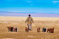 Mongolie, Province de Khovd, campement des nomades en hiver // Mongolia, Khovd, nomad camp in winter