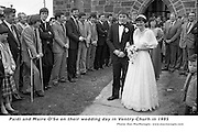 """Paidi and Maire O""""Se on their wedding day in Ventry Chursh in 1985 cheered on by teamates  Paidi's funeral will take place in the same church..Picture by Don MacMonagle"""