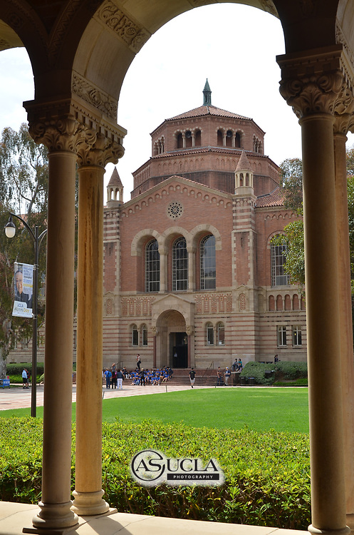 ASUCLA Photography Archive -  Exterior image of the UCLA Powell Library, UCLA Campus. University of California Los Angeles, Westwood, California.<br /> <br /> Copyright: ASUCLA