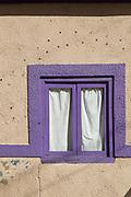 Close up of window, part of building exterior, Pisco Elqui, Chile