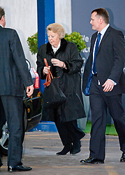 © London News Pictures. File pic dated 02/03/2012. London, UK. Queen Beatrix of the Netherlands leaving The Wellington Hospital in London hand in hand after visiting Prince Friso at His Hospital bed. Prince Johan Friso has today (12/08/2013)  died after nearly a year and a half in a coma following a skiing accident Photo credit : Ben Cawthra/LNP