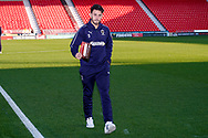 Wimbledon defender Will Nightingale (5) arrives during the EFL Sky Bet League 1 match between Doncaster Rovers and AFC Wimbledon at the Keepmoat Stadium, Doncaster, England on 17 November 2018.