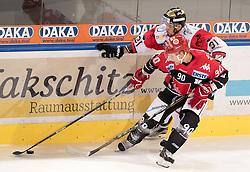 08.07.2016, Tiroler Wasserkraft Arena, Innsbruck, AUT, EBEL, HC TWK Innsbruck Die Haie vs HC Orli Znojmo, 8. Runde, im Bild Mario Lamoureux (HCI Innsbruck), Jakub Stehlik (Znojmo) // during the Erste Bank Icehockey League 8th Round match between HC TWK Innsbruck Die Haie and HC Orli Znojmo at the Tiroler Wasserkraft Arena in Innsbruck, Austria on 2016/10/08. EXPA Pictures © 2016, PhotoCredit: EXPA/ Johann Groder