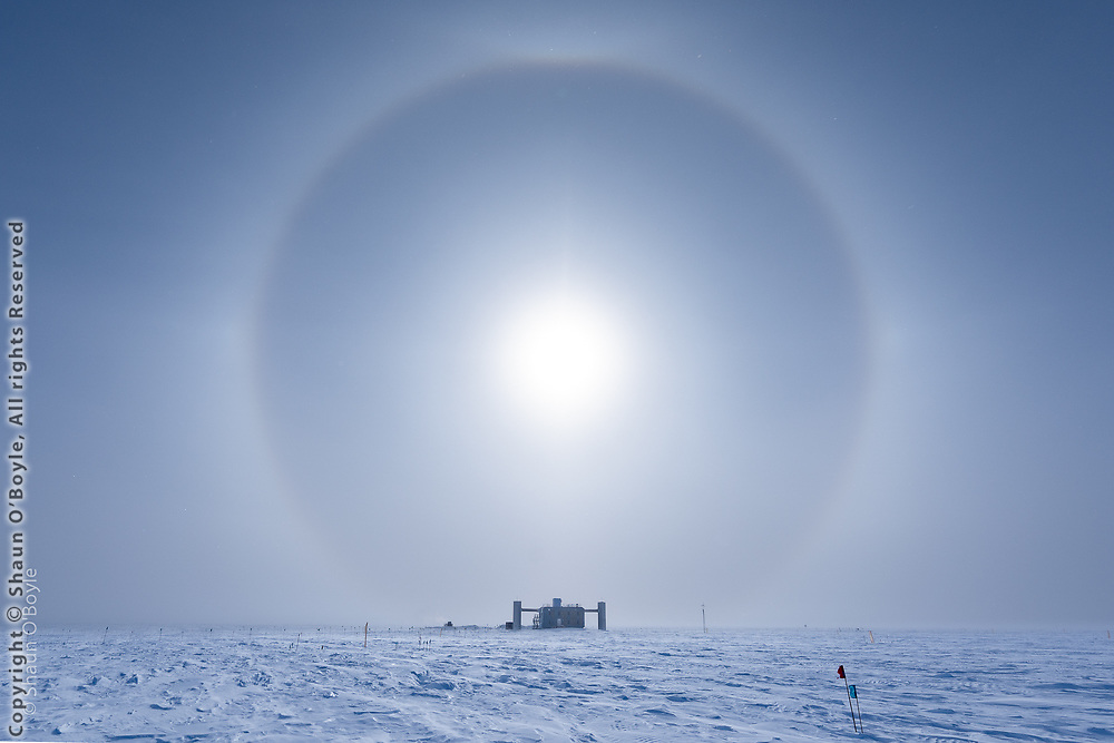 IceCube Neutrino Telescope Counting Laboratory on my first full day at Pole, framed with a sun halo.