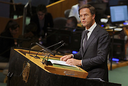 Dutch PM Mark Rutte addresses the 72nd session of the General Assembly at the United Nations in New York City, NY, USA, on September 20, 2017. Photo by Dennis Van Tine/ABACAPRESS.COM