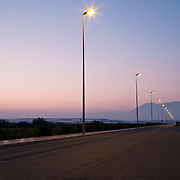 Road with illuminated street light