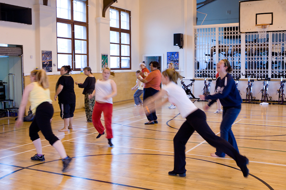 Prisoners taking part in a dance class. HMP Styal, Wilmslow, Cheshire