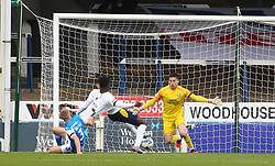 Christy Pym of Peterborough United makes a save from Daniel Agyei of Oxford United - Mandatory by-line: Joe Dent/JMP - 17/10/2020 - FOOTBALL - Weston Homes Stadium - Peterborough, England - Peterborough United v Oxford United - Sky Bet League One