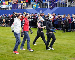 Auchterarder, Scotland, UK. 14 September 2019. Saturday morning Foresomes matches  at 2019 Solheim Cup on Centenary Course at Gleneagles. Pictured;  Match 4 with Jessica and Nelly Korda of Team USA and Bronte Law and Carlota Ciganda of Europe walk down 1st fairway. Iain Masterton/Alamy Live News