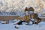 Jungle Jim play set in playground covered in snow.