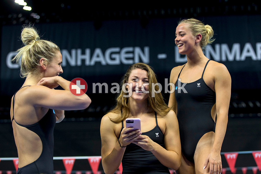 Sarah BRO (L), Amalie MIKKELSEN (R) and Emilie BECKMANN (front) of Denmark pose for a photo during a training session 2 days prior to the start of the 19th LEN European Short Course Swimming Championships held at the Royal Arena in Copenhagen, Denmark, Monday, Dec. 11, 2017. (Photo by Patrick B. Kraemer / MAGICPBK)
